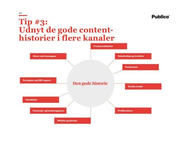 54 Tip #3: Udnyt de gode content- historier i flere kanaler