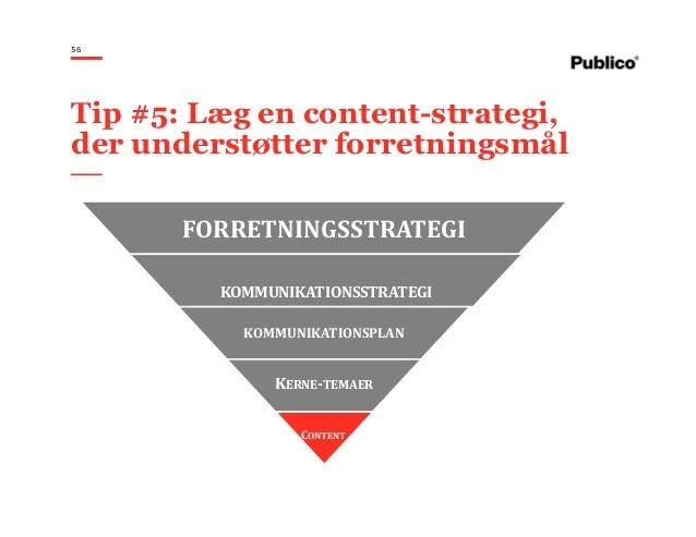 56 Tip #5: Læg en content-strategi, der understøtter forretningsmål FORRETNINGSSTRATEGI KOMMUNIKATIONSSTRATEGI KOMMUNIKATI...