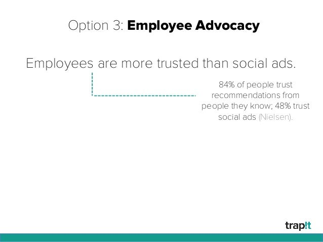 Option 3: Employee Advocacy Employees are more trusted than social ads. 84% of people trust recommendations from people th...
