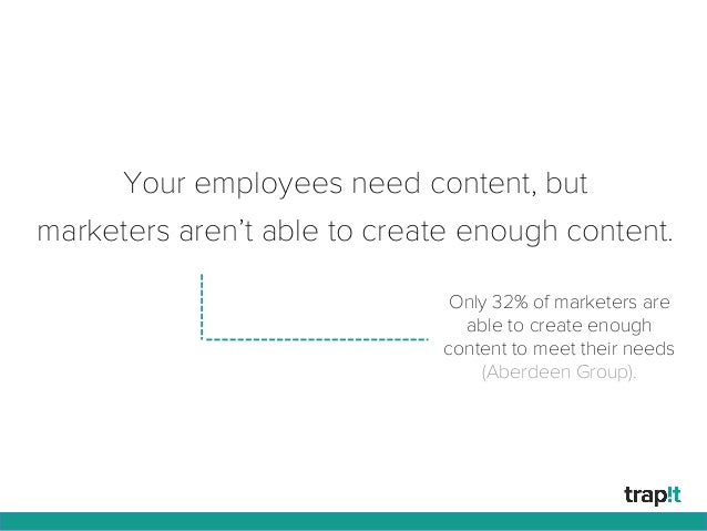 Your employees need content, but marketers aren't able to create enough content. Only 32% of marketers are able to create ...