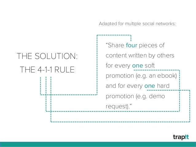 """THE SOLUTION: THE 4-1-1 RULE """"Share four pieces of content written by others for every one soft promotion (e.g. an ebook) ..."""