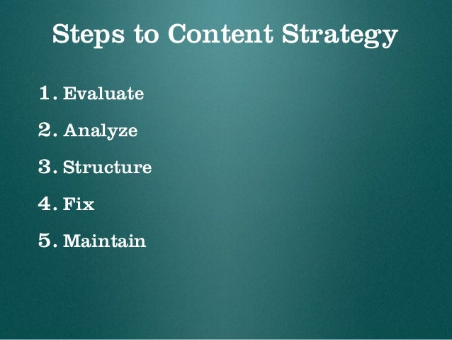 Steps to Content Strategy 1. Evaluate 2. Analyze 3. Structure 4. Fix 5. Maintain