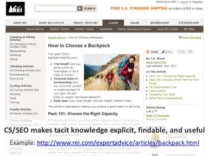 CS/SEO transforms content for traffic & engagementExample: http://www.rei.com/features/infographics/backpacks.html