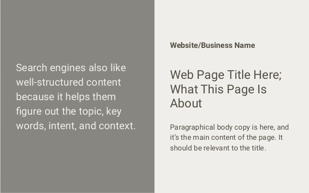 Search engines also like well-structured content because it helps them figure out the topic, key words, intent, and context...