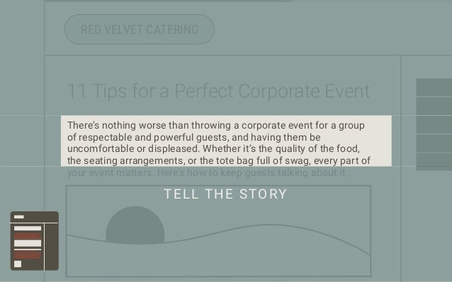 RED VELVET CATERING 11 Tips for a Perfect Corporate Event There's nothing worse than throwing a corporate event for a grou...