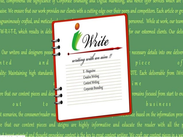 Contact Us At iWrite, we realize that 'Content is King' and we craft the right content, presented with appropriate graphic...