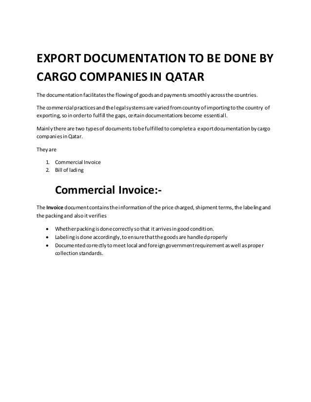 EXPORT DOCUMENTATION TO BE DONE BY CARGO COMPANIES IN QATAR