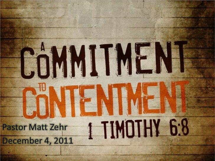 Pastor Matt ZehrDecember 4, 2011