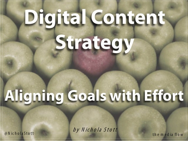 Digital Content Strategy b y N ich o la S to tt Aligning Goals with Effort th e m e d ia flo w@ N ic h o la S to tt