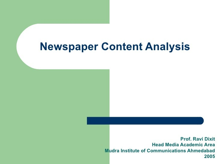 Newspaper Content Analysis                                                Prof. Ravi Dixit                                ...