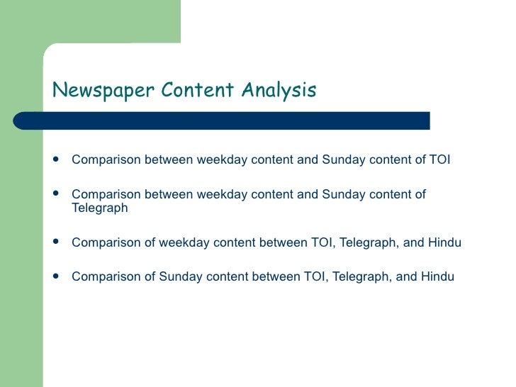 Content Analysis Hindu Vs Toi Vs Telegraph Slide 3