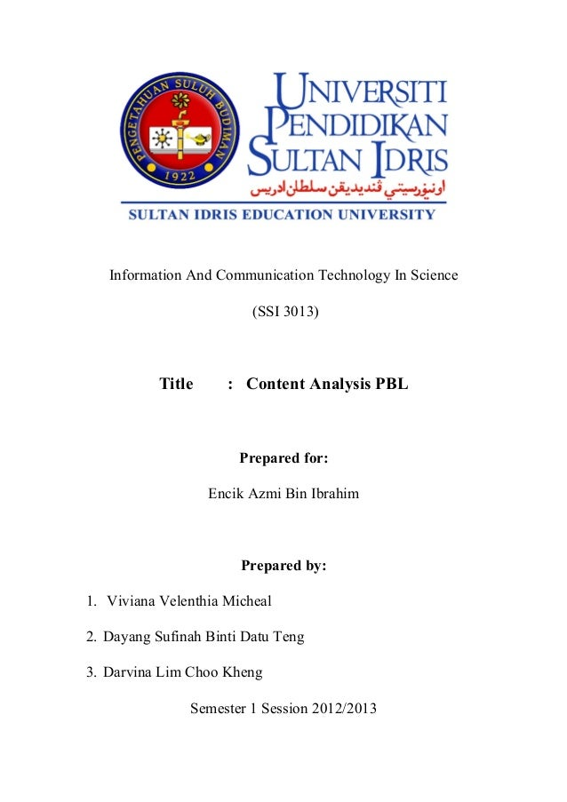 Information And Communication Technology In Science                         (SSI 3013)          Title      : Content Analy...