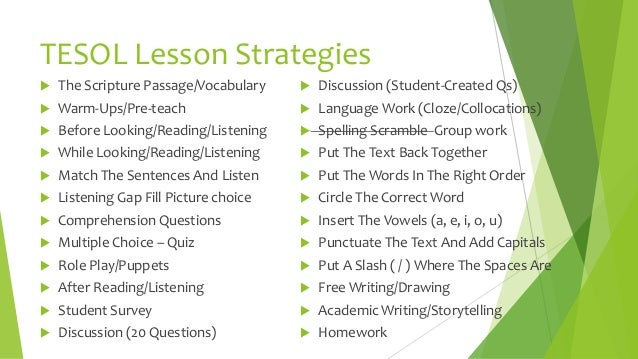 lesson planning strategies for english language learners k