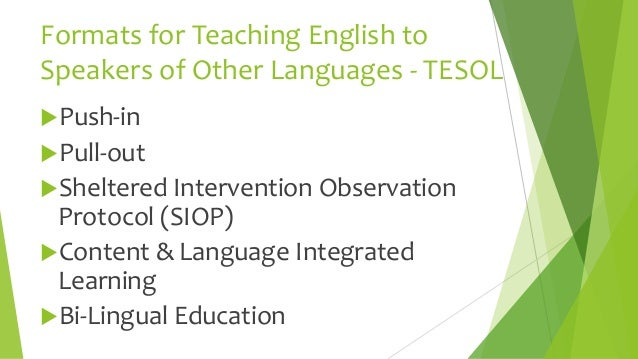 the importance of tesol teaching the english language to speakers of other languages