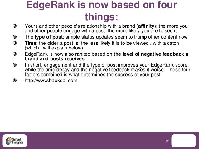 EdgeRank is now based on four               things:   Yours and other peoples relationship with a brand (affinity): the m...