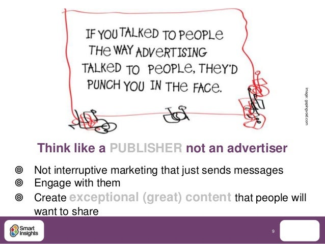 Image: gapingvoid.com    Think like a PUBLISHER not an advertiser Not interruptive marketing that just sends messages En...