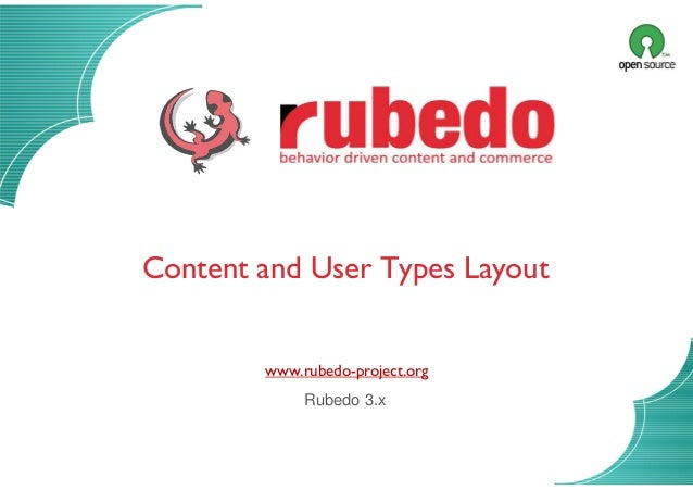 Content layouts 12/11/2013 Content and User Types Layout www.rubedo-project.org Rubedo 3.x