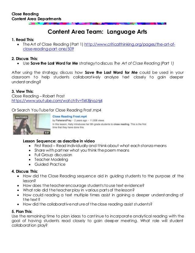 Content area team language arts