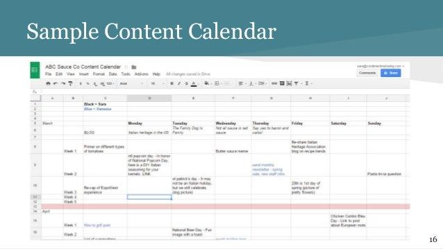 sample social media calendar