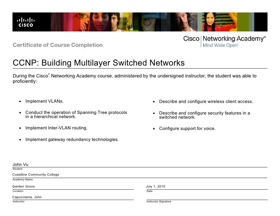 Cisco certificate of completion bcmsn certificate of course completion ccnp building multilayer switched networks during altavistaventures Gallery