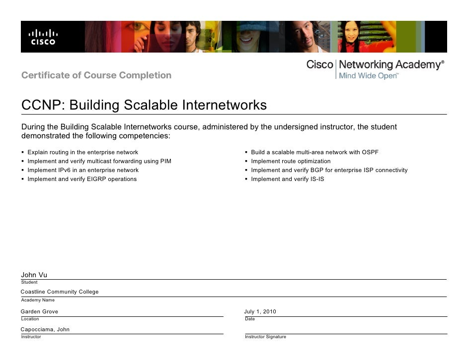 Cisco Certificate Of Completion Bsci