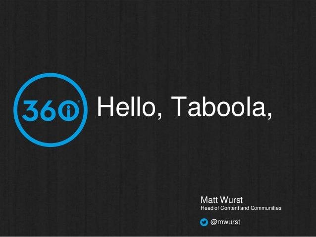Hello, Taboola,  Matt Wurst Head of Content and Communities  @mwurst