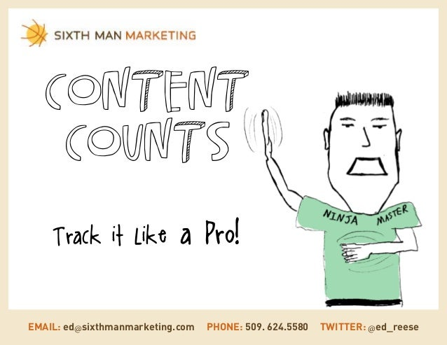 Content Counts Track it Like  a Pro!  EMAIL: ed@sixthmanmarketing.com  PHONE: 509. 624.5580  TWITTER: @ed_reese