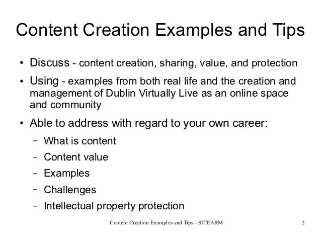 Content creation examples and tips Slide 2