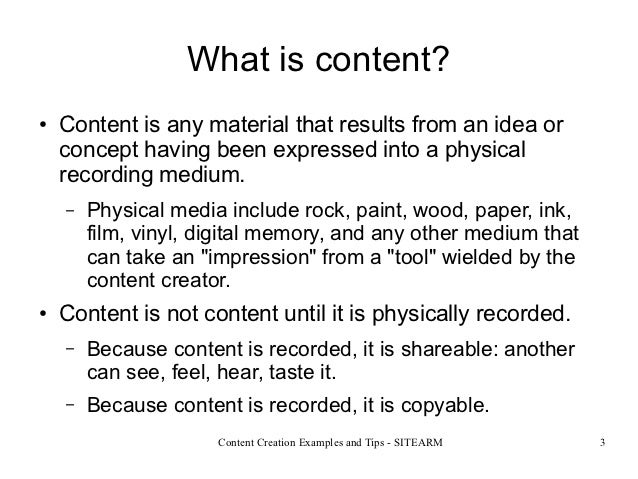 Content creation examples and tips Slide 3