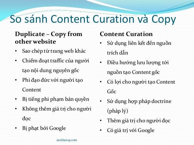 So sánh Content Curation và Copy seothetop.com Duplicate – Copy from other website • Sao chép từ trang web khác • Chiếm đo...