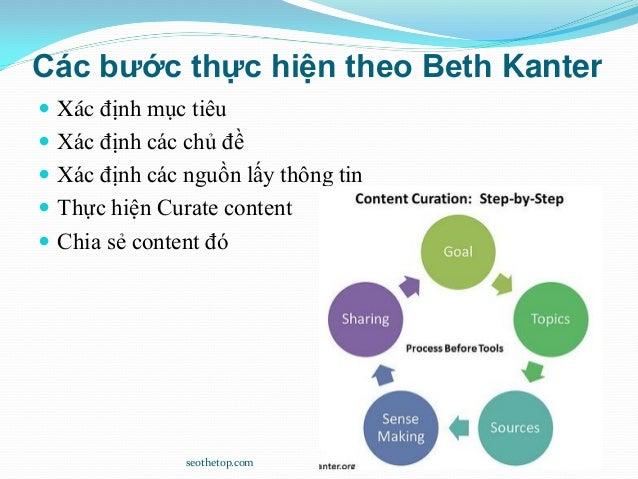 Các bước thực hiện theo Beth Kanter  Xác định mục tiêu  Xác định các chủ đề  Xác định các nguồn lấy thông tin  Thực hi...