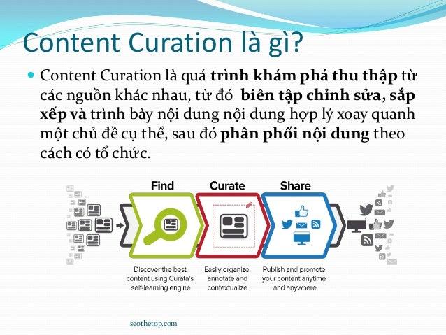 Content Curation là gì?  Content Curation là quá trình khám phá thu thập từ các nguồn khác nhau, từ đó biên tập chỉnh sửa...