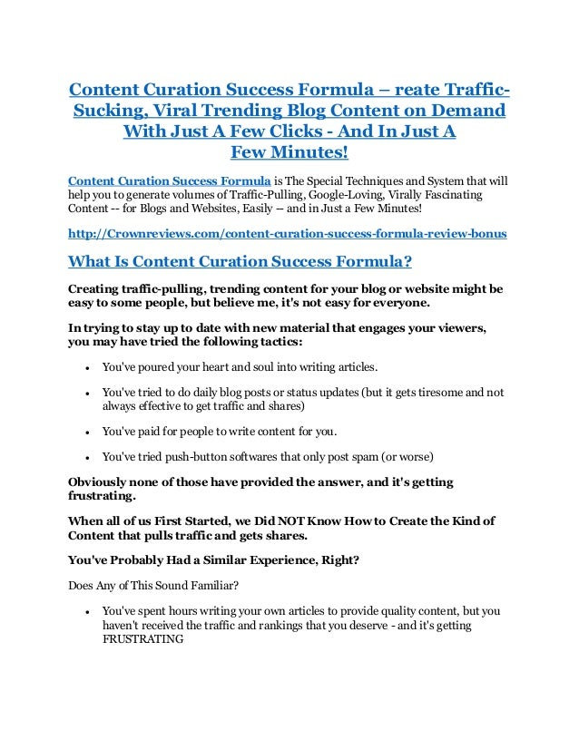 Content curation success formula review free bonus and discount content curation success formula reate traffic sucking viral trending blog content on demand malvernweather Image collections