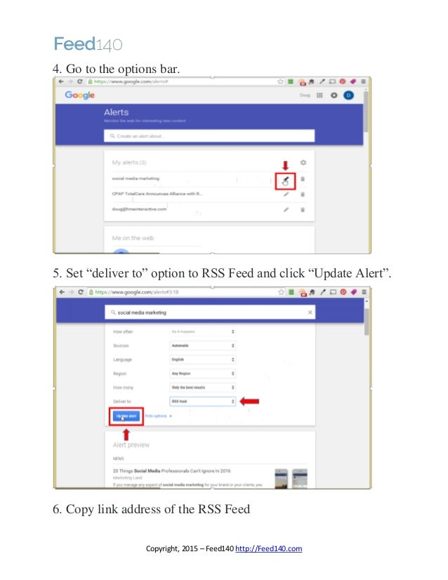 how to set up rss feed