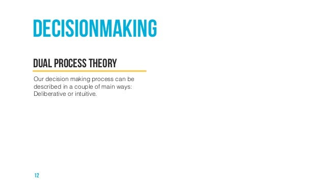 Decisionmaking  Dual process theory  Our decision making process can be  described in a couple of main ways:  Deliberative...