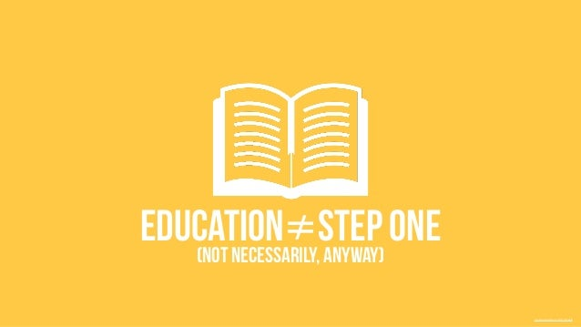 education≠Step one  (Not necessarily, anyway)  Creative Commons 3.0 by Freepik