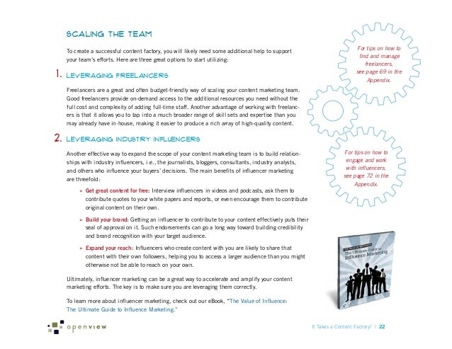 Scaling the Team To create a successful content factory, you will likely need some additional help to support your team's ...
