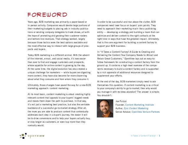 F oreword Years ago, B2B marketing was primarily a paper-based or in-person activity. Companies would devote large portion...