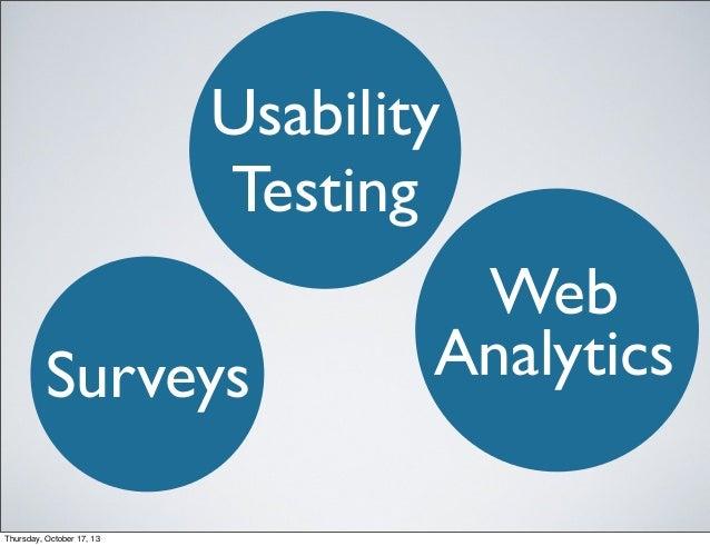 Usability Testing Surveys Thursday, October 17, 13  Web Analytics