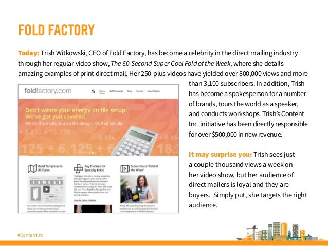 #ContentInc FOLD FACTORY Today: Trish Witkowski, CEO of Fold Factory, has become a celebrity in the direct mailing industr...