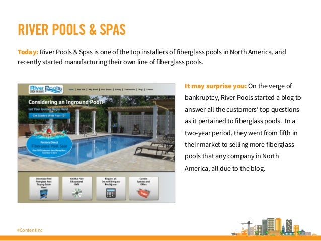 #ContentInc RIVER POOLS & SPAS Today: River Pools & Spas is one of the top installers of fiberglass pools in North America...