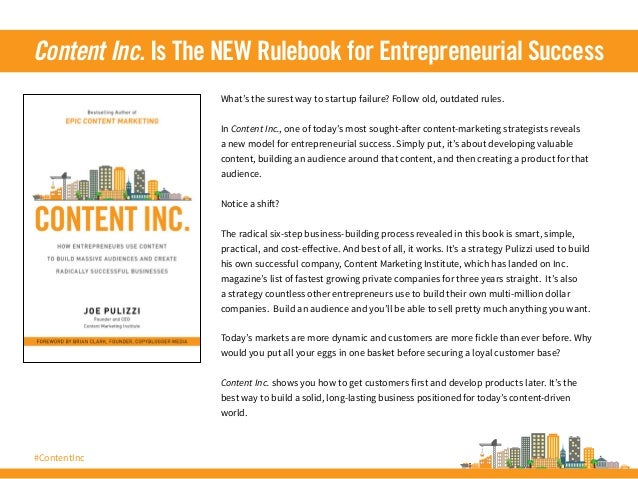 #ContentInc What's the surest way to startup failure? Follow old, outdated rules. In Content Inc., one of today's most sou...