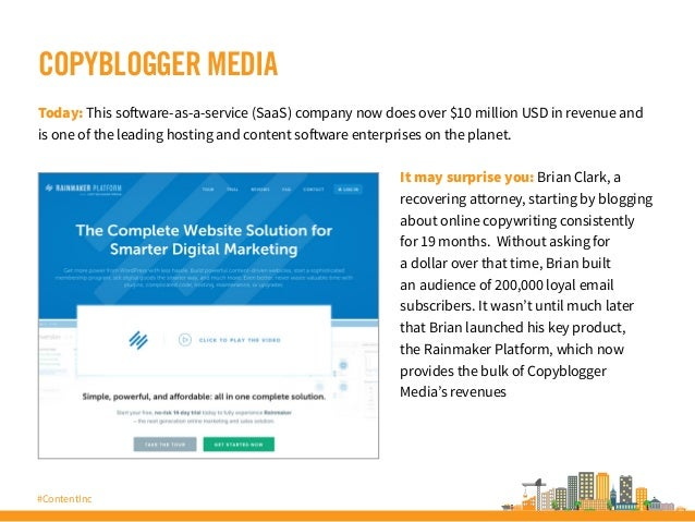 #ContentInc COPYBLOGGER MEDIA Today: This software-as-a-service (SaaS) company now does over $10 million USD in revenue an...