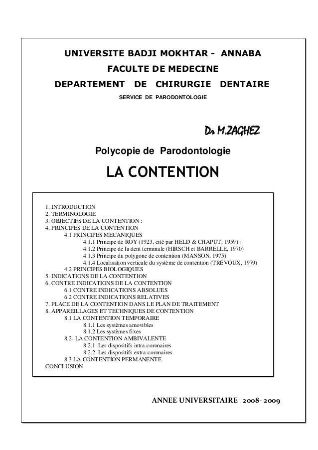 1 UNIVERSITE BADJI MOKHTAR - ANNABA FACULTE DE MEDECINE DEPARTEMENT DE CHIRURGIE DENTAIRE SERVICE DE PARODONTOLOGIE Dr M.Z...