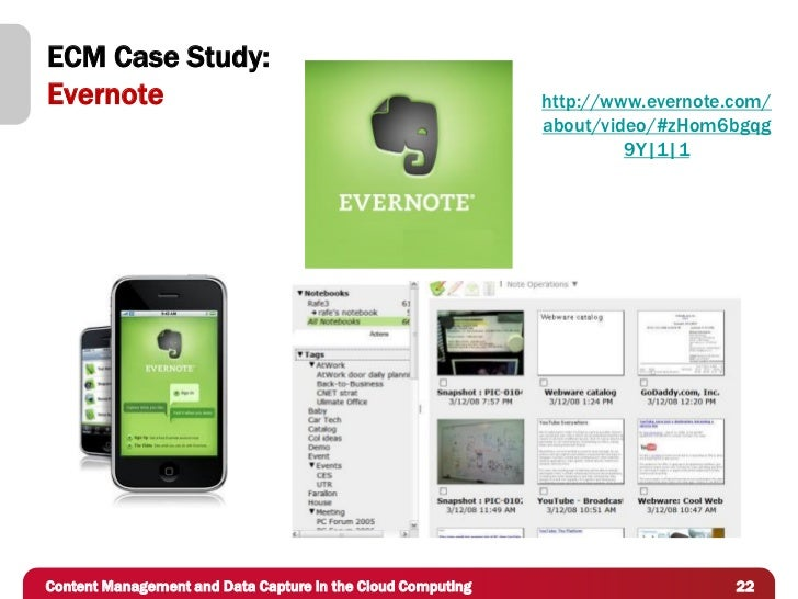 ECM Case Study:Evernote                                                     http://www.evernote.com/                      ...