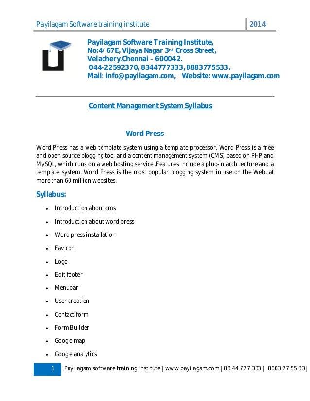 Payilagam Software training institute 2014 1 Payilagam software training institute | www.payilagam.com | 83 44 777 333 | 8...