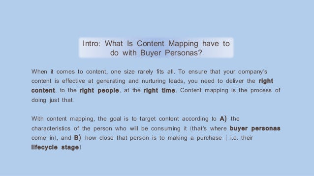 :Intro What Is Content Mapping have to do with Buyer Personas? , .When it comes to content one size rarely fits all To ens...