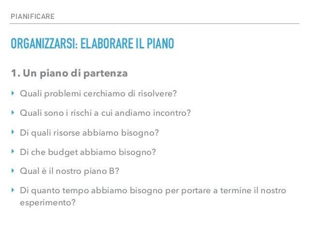 PIANIFICARE ORGANIZZARSI: ELABORARE IL PIANO 1. Un piano di partenza ‣ Quali problemi cerchiamo di risolvere? ‣ Quali sono...