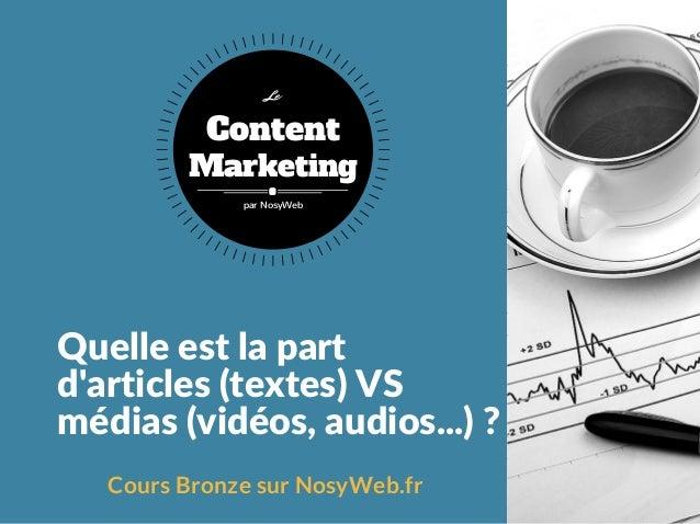 Quelleestlapart d'articles(textes)VS médias(vidéos,audios...)? Cours Bronze sur NosyWeb.fr Content Marketing Le pa...
