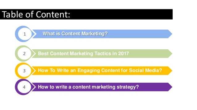 Best Content Marketing Tactics in 2017 How To Write an Engaging Content for Social Media? What is Content Marketing?1 Tabl...